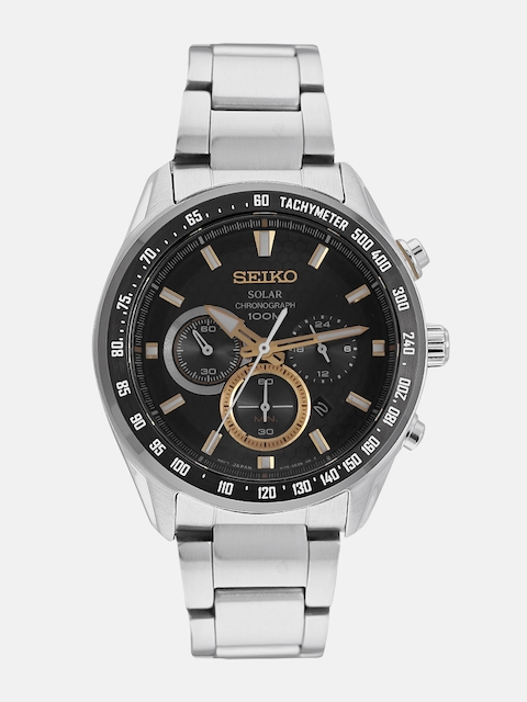 SEIKO Men Black Solar Chronograph Watch SSC581P1