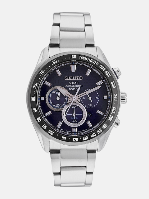 SEIKO Men Blue Solar Chronograph Watch SSC585P1