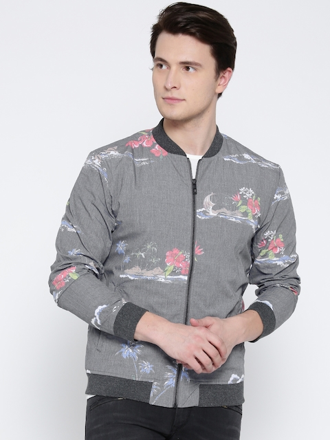 Jack & Jones Men Grey Printed Bomber Jacket