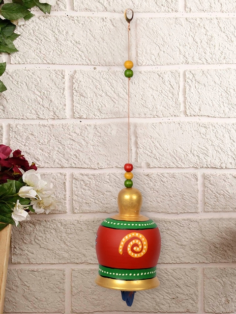 ExclusiveLane Red & Green Terracotta Handpainted Bell Hanging Windchime