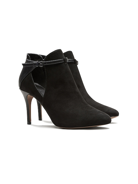 next Women Black Solid Heeled Boots