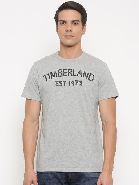 Timberland Men Grey Printed Round Neck T-shirt