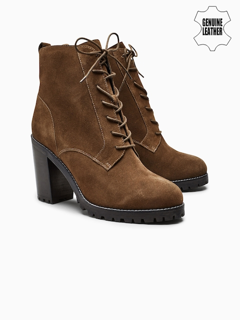next Women Brown Solid Suede Leather Heeled Boots