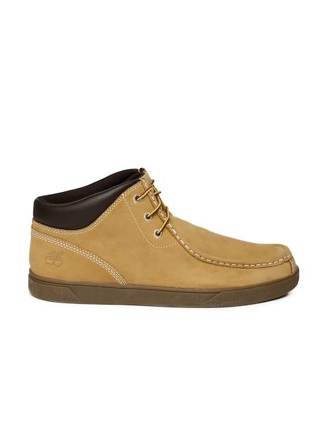 Timberland Men Tan GROVETON MOCTOECHK Leather Flat Boots