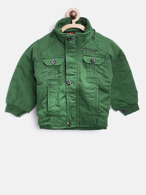 Okane Boys Green Solid Bomber Jacket with Detachable Hood