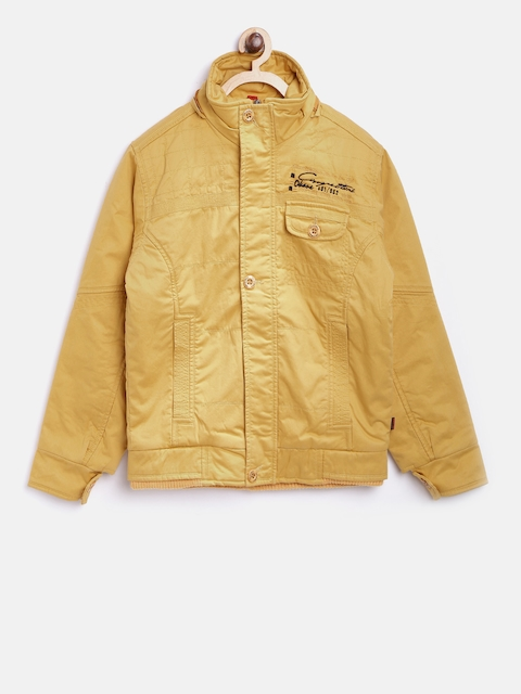 Okane Boys Mustard Yellow Solid Bomber Jacket with Detachable Hood  available at myntra for Rs.1020