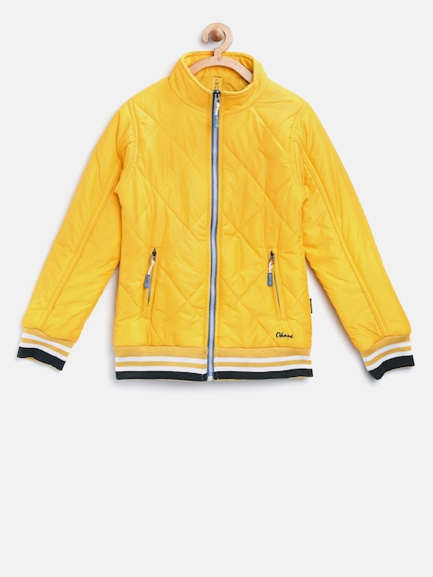 Okane Girls Yellow Solid Quilted Jacket  available at myntra for Rs.750