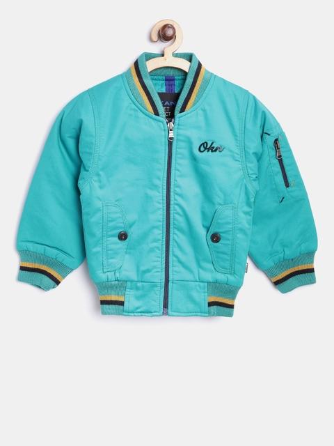 Okane Boys Green Solid Bomber Jacket