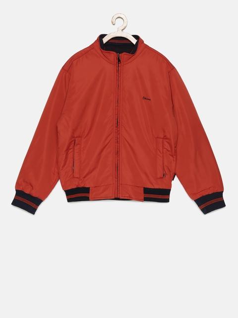 Okane Boys Rust Orange & Black Solid Reversible Tailored Jacket