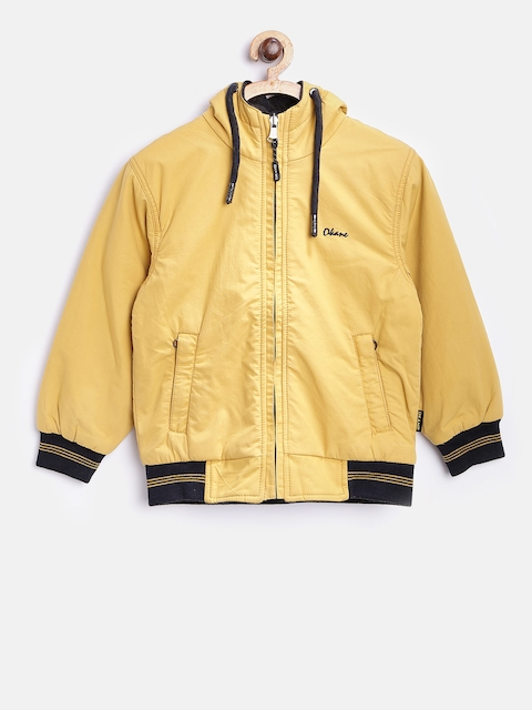 Okane Boys Yellow & Navy Hooded Reversible Bomber Jacket