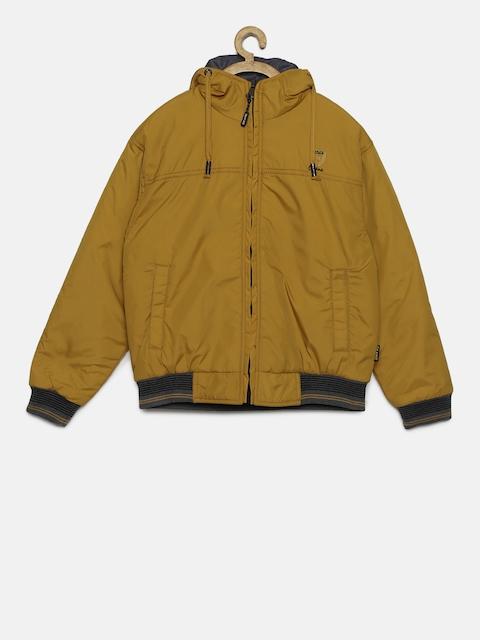 Okane Boys Mustard Yellow & Navy Blue Reversible Hooded Bomber Jacket