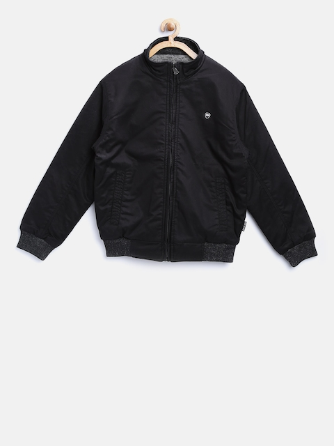 Okane Boys Black & Grey Solid Reversible Bomber Jacket