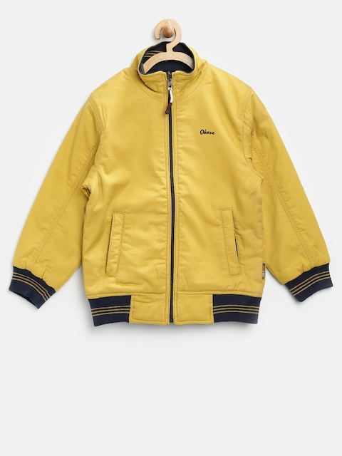 Okane Boys Yellow & Navy Solid Reversible Bomber Jacket  available at myntra for Rs.684