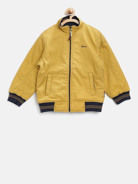 Okane Boys Mustard Yellow & Navy Solid Reversible Bomber Jacket