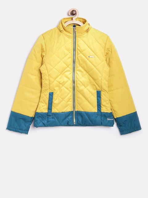 Okane Girls Yellow Solid Quilted Jacket with Detachable Hood