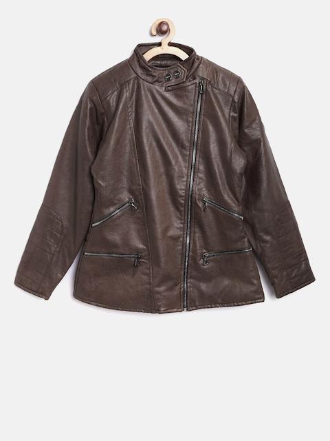 Okane Girls Coffee Brown Textured Leather Jacket