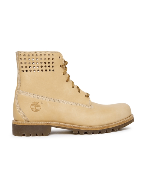 Timberland Men Nude-Coloured Solid Leather PREM High-Top Flat Boots