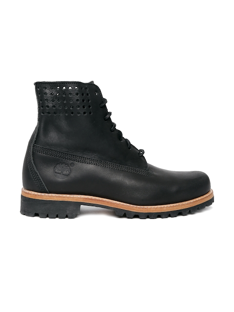 Timberland Men Black Solid Leather 6 PREM PERF COLLAR High-Top Flat Boots