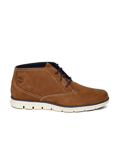 Timberland Men Brown Solid Suede BRADST PT CHUKKA BRN Mid-Top Flat Boots