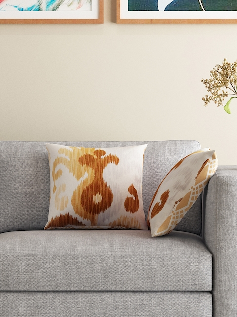 HOUZZCODE Set of 2 White & Brown Printed Double-Sided 12 x 12 Square Cushion Covers