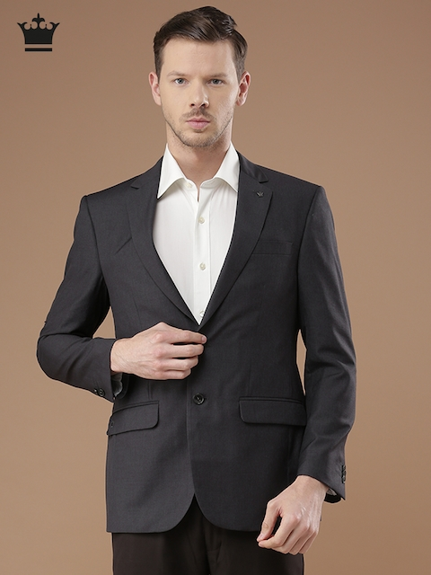 Louis Philippe Grey Ultra Fit Single-Breasted Formal Blazer