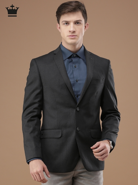 Louis Philippe Charcoal Grey Ultra Fit Single-Breasted Blazer