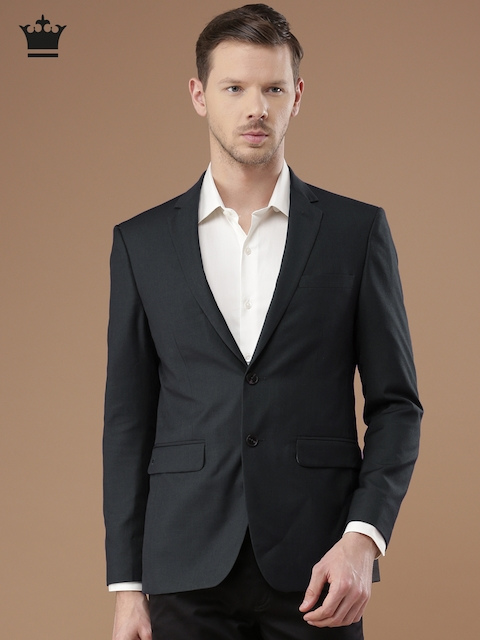 Louis Philippe Charcoal Grey Milano Fit Single-Breasted Formal Blazer