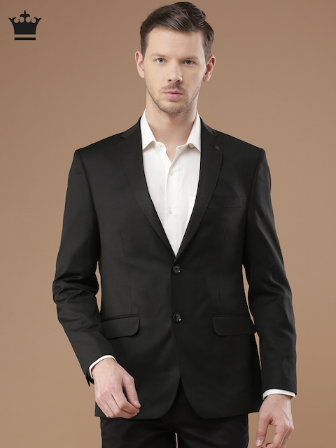 Louis Philippe Black Milano Fit Single-Breasted Formal Blazer