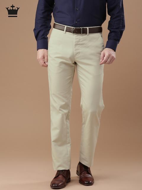 Louis Philippe Men Beige Standard Fit Solid Formal Trousers
