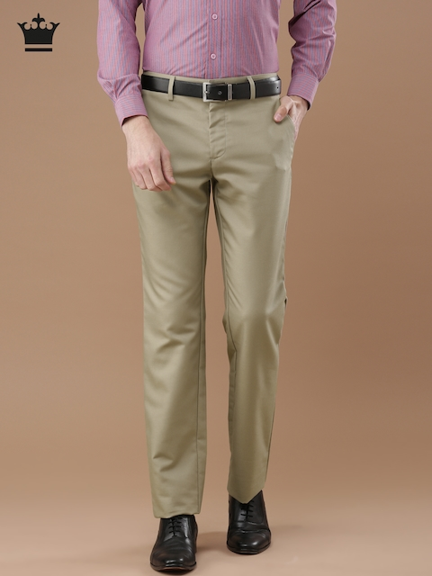 Louis Philippe Men Khaki Standard Fit Solid Formal Trousers