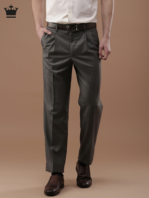 Louis Philippe Men Brown Ultra Fit Solid Formal Trousers