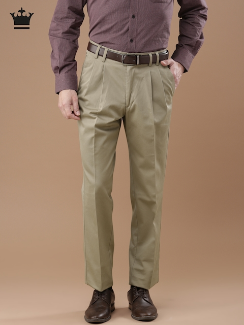 Louis Philippe Men Beige Classic Fit Solid Formal Trousers