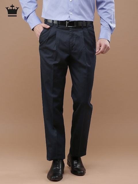 Louis Philippe Men Black Classic Fit Solid Formal Trousers