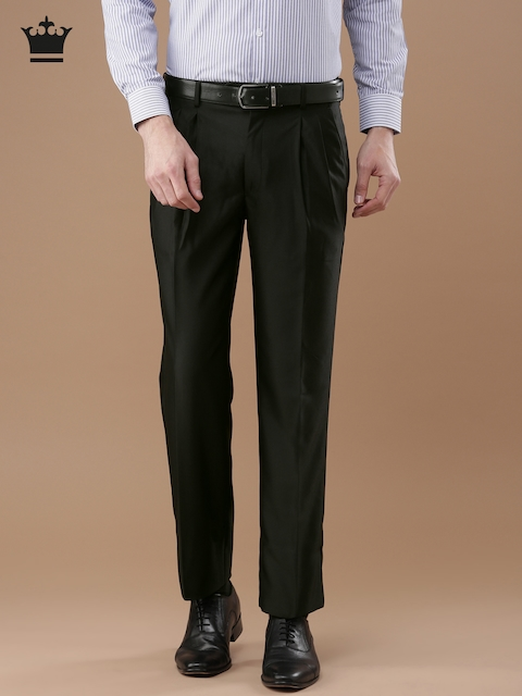 Louis Philippe Men Black Classic Regular Fit Solid Formal Trousers
