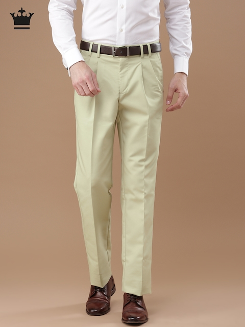 Louis Philippe Men Beige Classic Regular Fit Solid Formal Trousers