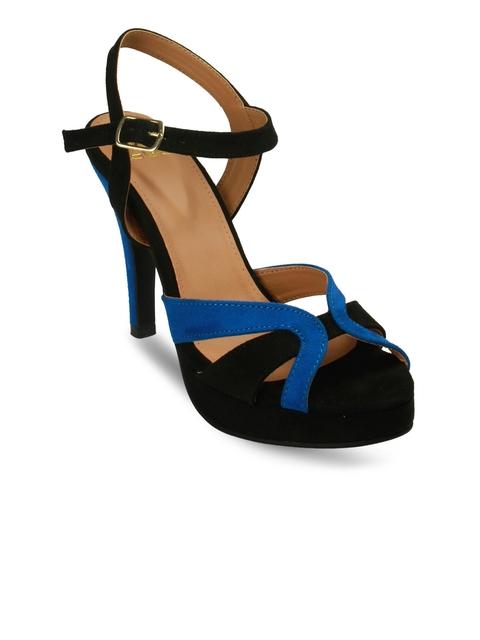 20Dresses Women Black & Blue Colourblocked Peep-Toes