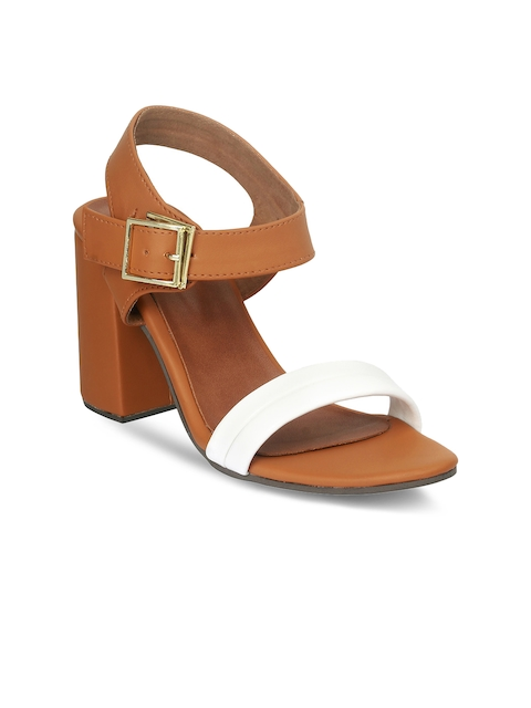 20Dresses Women Brown & White Colourblocked Block Heels
