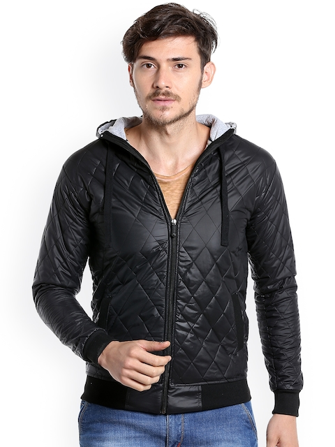 Campus Sutra Men Black Solid Quilted Jacket