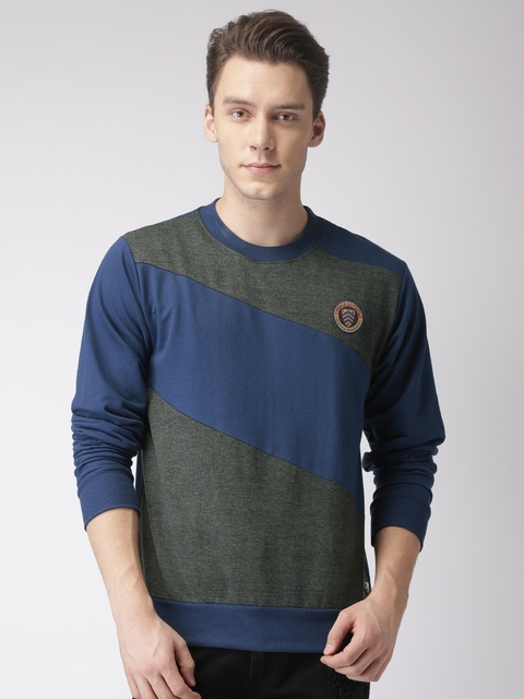 Harvard Men Blue & Charcoal Grey Colourblocked Sweatshirt