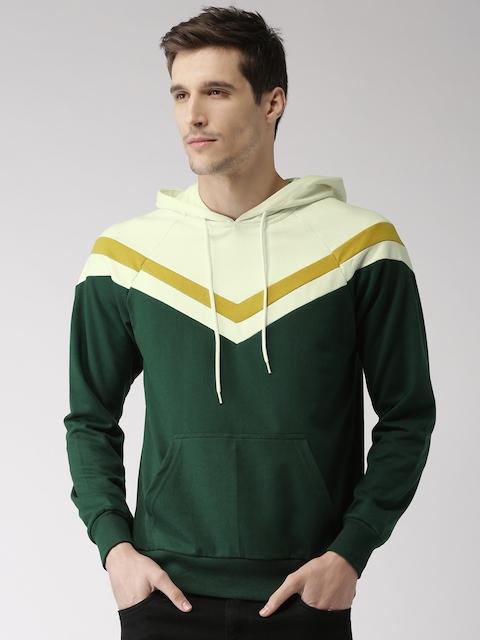 Harvard Men Green & Off-White Colourblocked Hooded Sweatshirt