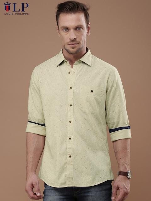 Louis Philippe Sport Men Beige Jermyn Tailored Fit Printed Casual Shirt