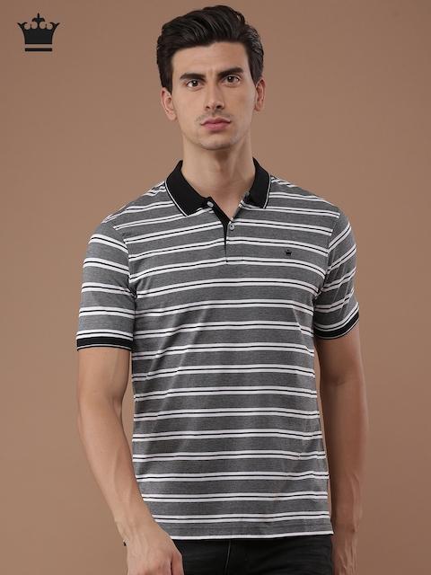 Louis Philippe Men Black & Off-White Striped Polo Collar T-shirt