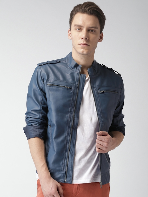 Mast & Harbour Men Blue Solid Biker Jacket