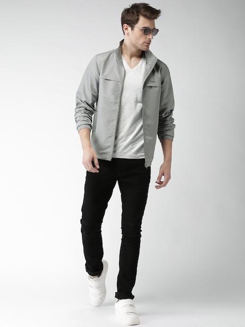 Mast & Harbour Men Grey Solid Sporty Jacket
