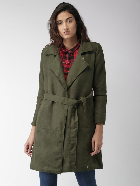 Mast & Harbour Women Olive Green Solid Duster Jacket
