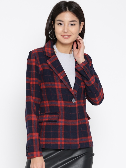 Mast & Harbour Navy Blue & Red Checked Single-Breasted Casual Blazer