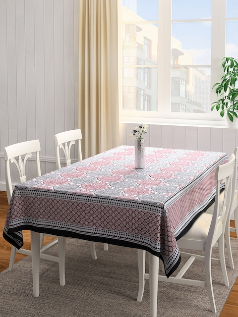 S9home by Seasons Red & Grey Rectangular Printed 90 x 60 Cotton Table Cover
