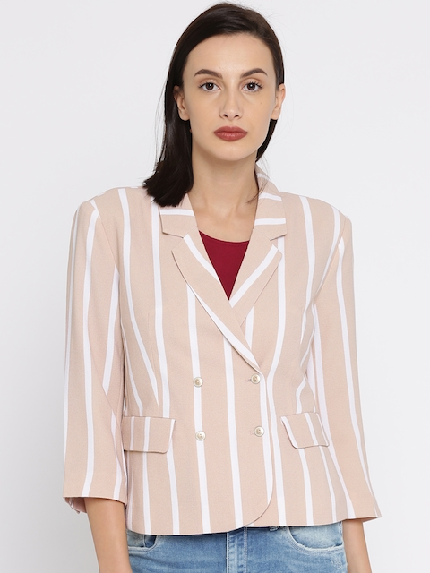 ONLY Beige & White Striped Double-Breasted Blazer