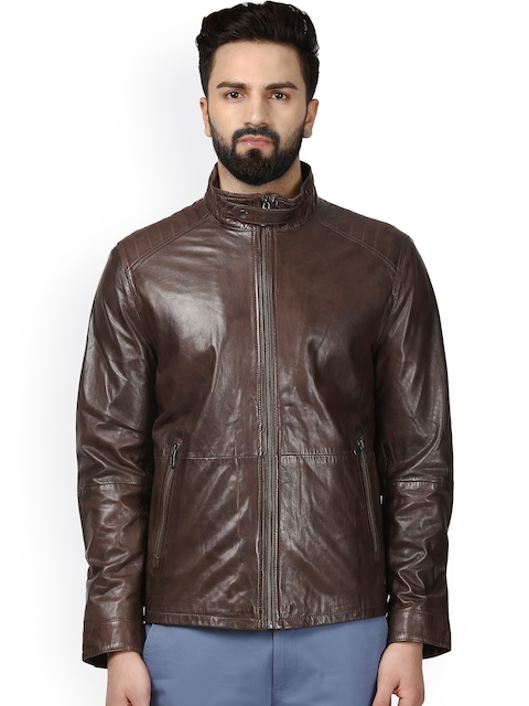 Raymond Men Brown Solid Leather Bomber