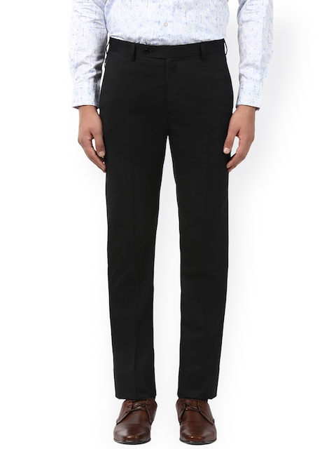 Raymond Men Black Regular Fit Solid Formal Trousers